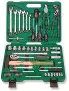 Универсальный набор торцевых головок 1/4DR 6-13 мм и 1/2DR 12-24 мм, комбинированных ключей 8-17 мм и отверток, 60 предметов