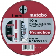 Диск отрезной Metabo (115x1.0x22) 10 штук