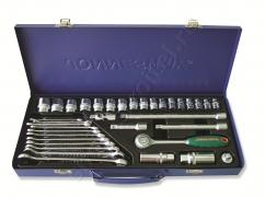 Набор торцевых головок 3/8DR 6-22 мм и комбинированных ключей 7-17 мм, 36 предметов